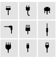 black plug icon set vector image vector image