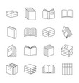 books thin line icons book education signs vector image