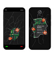 broken smartphone with bugs vector image vector image