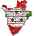 burundi map on a brick wall vector image