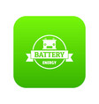 car battery icon green vector image vector image