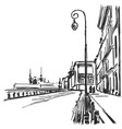 cartoon sketchy drawing of city cityscape vector image vector image