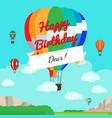 colorful hot air balloon birthday card vector image vector image