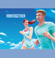 couple running together vector image vector image