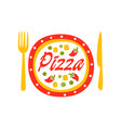 creative flat logo design with vegetable pizza vector image