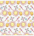 cute sun with star magic wand and flower vector image