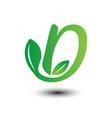 d green leaves letter ecology logo vector image vector image