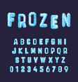 frozen font alphabet template set blue white vector image