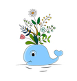 Funny whale and colorful floral vector image