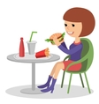 Girl eating fast food of a vector image vector image