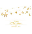hanging golden christmas decoration on white vector image vector image