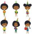 happy beautiful african-american girls carrying vector image vector image