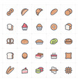 icon set - bakery and bread full color vector image vector image