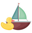 little ducky and sailboat toy entertainment square vector image