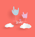 love hand sign floating love letter with bird and vector image