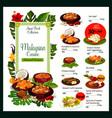 malaysian cuisine menu malaysia food dishes vector image vector image