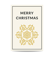 Merry Christmas greeting card golden snowflake vector image vector image