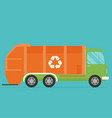 orange garbage truck transportation flat vector image