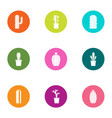 prickly pear icons set flat style vector image vector image
