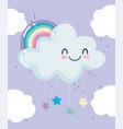 rainbow cloud hanging stars night dream cartoon vector image vector image
