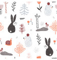 seamless childish pattern with cute rabbits vector image vector image
