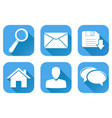 set main blue internet icons vector image