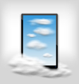 Tablet PC Computer with Clouds and Blue Sky vector image vector image