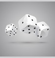 three falling white game dices casino gambling vector image