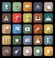 Trekking flat icons with long shadow vector image