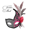 venetian mask with feathers and rose flower vector image