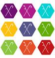 walking cane icon set color hexahedron vector image vector image