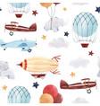 watercolor aircraft baby pattern vector image vector image
