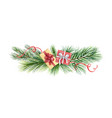 watercolor christmas wreath with green fir vector image vector image
