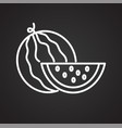 watermelon icon on black background for graphic vector image