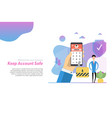 web header - man with phone locked a password vector image vector image