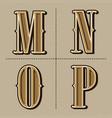 western alphabet letters vintage design m n o vector image vector image