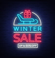 winter sales banner in neon style vector image vector image