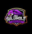wolf e-sports logo design vector image vector image