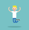 young winking jumping blond boy flat editable vector image