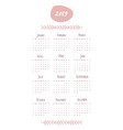 2019 calendar with the months and year written by vector image
