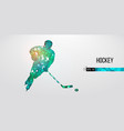 abstract silhouette a hockey player vector image vector image