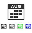 august calendar grid flat icon vector image