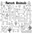 black and white crossword for kids with forest vector image