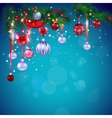 Blue Christmas card with decoration vector image