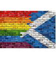 brick wall scotland and gay flags vector image