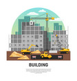 building construction machinery flat composition vector image vector image