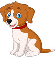 cartoon cute dog wearing a red collar vector image vector image
