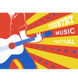 Country music poster with man musician and guitar vector image vector image