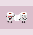 couple tissue paper characters are kissing vector image vector image