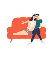 cute couple sitting on sofa and drinking wine vector image vector image